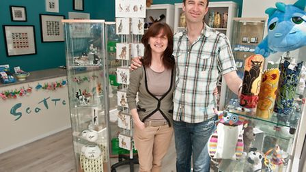 Mark Croud and Val Denyer who have just opened up the new gift shop Scatterbox.
