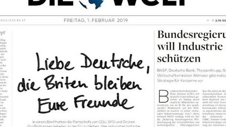 The front page of today's Die Welt. The headline reads 'Dear German, the British remain your friends