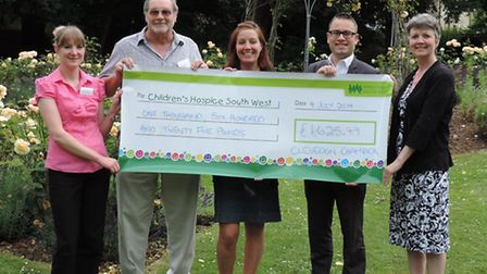 Clevedon Chamber members handing over the cheque to Children's Hospice South West: Holly Bailey, Joh