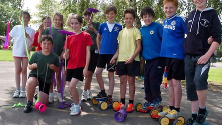 Golden Valley Primary School, Nailsea pupils learning circus skills.