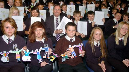 Nailsea School, pupils from Griffin House with Liam Fox MP.