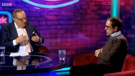 Andrew Neil and James Delingpole talk no-deal Brexit on the BBC's This Week programme. Photograph: B