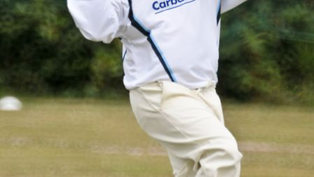 Andy Russ bowling for Lympsham.