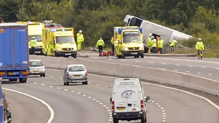 Emergency services attend an incident on the M5 Motorway on the Southbound carriageway near Dursley