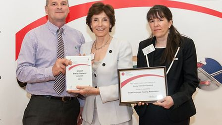 Tony Bebbington of Alliance Homes, Dame Mary Archer and Gabby Mallett from the National Energy Feder