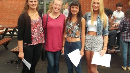 Kate O'Malley, Edith Denny, Leah Leong and Olivia O'Malley celebrating their hard work on A-level re