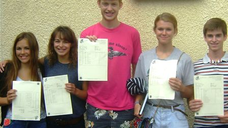 Gordano School pupils with their A-level results: Oxford and Cambridge hopefuls Rosie Treble, Suzie