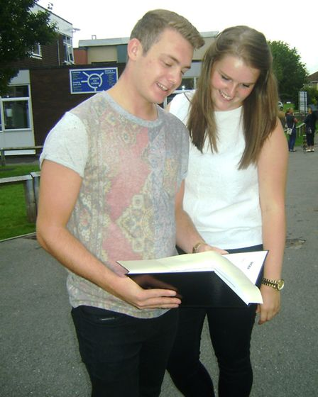 Gordano School pupils Tom and Livvy with their results