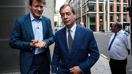 Former leader of the UK Independence Party Nigel Farage and businessman Richard Tice. Picture: Jack