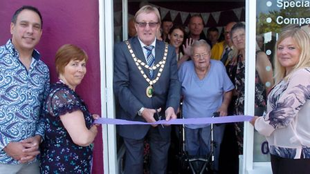 Opening of the new Home Instead Senior Care at Worle High Street by the Mayor David Hichings.