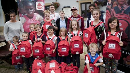 The Bucket & Spade pub donated bags and equipment for less fortunate pupils
