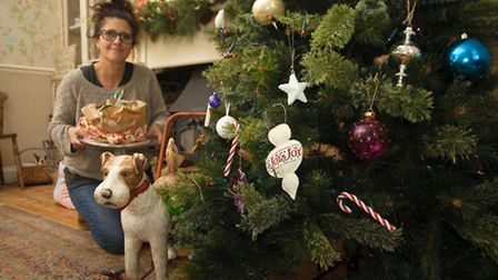 Yvonne Cook at her home with the Xmas decorations she has up due to an article with Your Home magazi