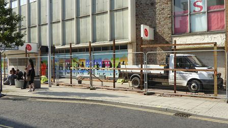 Work has begun at the former TJ Hughes site. Photo by Peter Barrington.