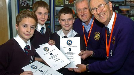Rotary club photo competition winners, Nailsea School,Tristan Fry,Joel Knight and Ethan Kabot with R