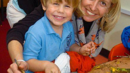 St Marys Primary School, Portbury children drawing and painting, Liz Beacon with her son Tom.