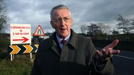 Hillary Benn at the border between Northern Ireland and the Republic of Ireland in Middletown, Co. A