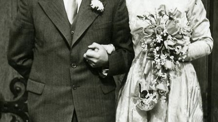 Win Stokes, pictured on her wedding day to husband Ivor.