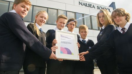 Year 10 Business Studies students with the award.