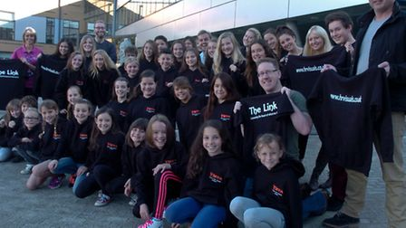 Nailsea School, dance studio, children with their new jumpers and t-shirts for the Youth Music Thea