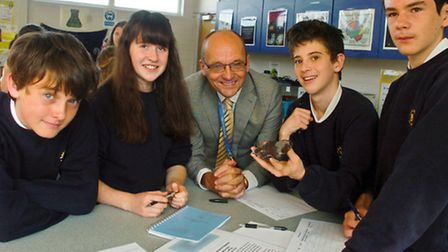 Backwell School, Lunar samples and meteorites science lession, with pupils and headtreacher Julian