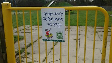 The signs have been put up at play areas and children's centres across North Somerset