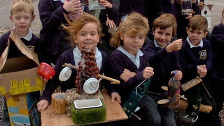 Mary Elton Primary School, Clevedon, pupils with their Bird Boxes.