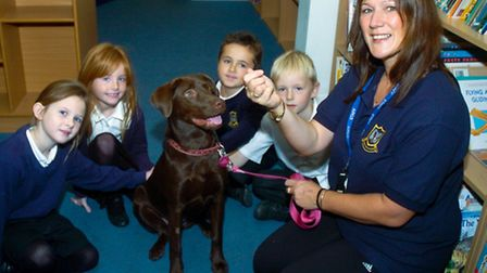 Dog training session at Mary Elton Primary School, Clevedon.