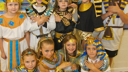Pupils in Egyptian costumes.