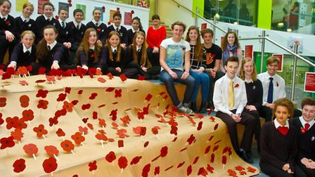 Pupils with poppies they have made to cover the front steps, Nailsea School.