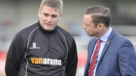 Mickey Bell (left) pictured with Doncaster Rovers boss Paul Dickov ahead of last week's FA Cup game.