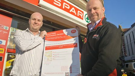 Mark Canniford and new Post Office manager David Griffin.