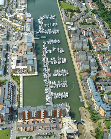 An aerial view of Portishead's marina