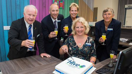 NSEA chief executive Angela Hicks celebrates with other key figures from the organisation.