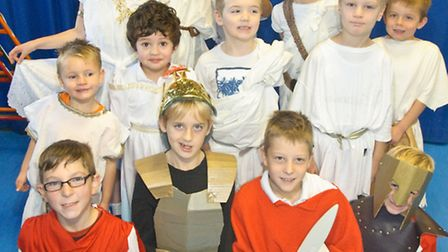 Pupils dressed up as gods, warriors and citizens of ancient Greece.