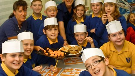 Tickenham Primary School pupils visiting Tesco, Nailsea, farm to fork.