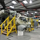 Inside Weston's Helicopter Museum.