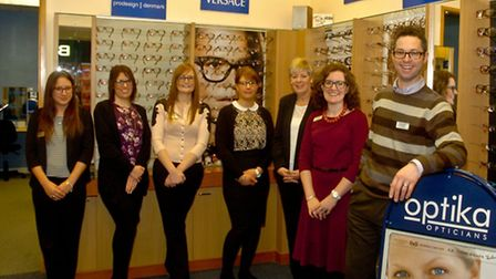 James and Alison Harwood and team celebrating 10 years annivesary of Optika Opticians in the sovere