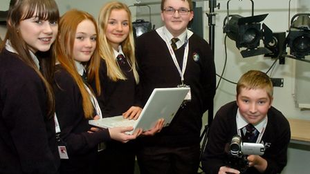 Students from Nailsea School rehearsing for BBC report.