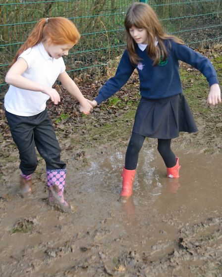 Pupils walking in wellies to raise money for African farmers.