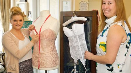 Tanya Hall and Abigail Westrup with new bridal lingerie Tanya is launching in the area.