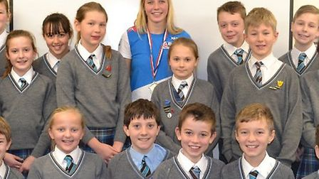 Noelle Finch talking to Fairfield School pupils about her windsurfing career.