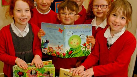 Hannah More Primary School, Nailsea children with decorated hearts made for the Lunchbowl Appeal.
