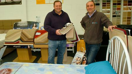 Gordano Carpets have moved in temporarily with PortisBeds, John Lochrie and Rickie Peace.