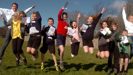 Golden Valley Primary School, year six pupils with visitors from Bristol Uni taking about exercise.