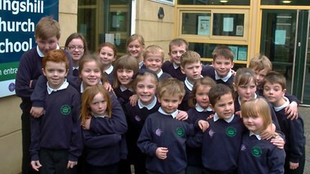 KIngshill Church School, Nailsea, pupils celebrating vast improvement in Ofsted rating.