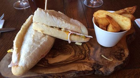 Ham, cheddar and mustard pickle in a sour dough baguette: £5.95 at The Jubilee Inn, Flax Bourton.
