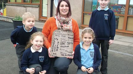 Teacher Tricia Rose with pupils at St Mary's Primary School