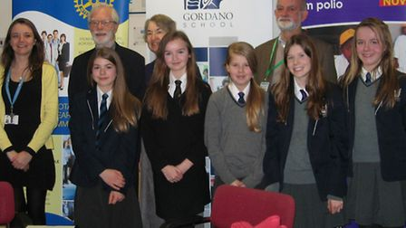Gordano School pupils with members of the Rotary Club of Portishead