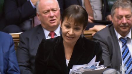 Caroline Lucas MP in the House of Commons. Photograph: Parliament Live.
