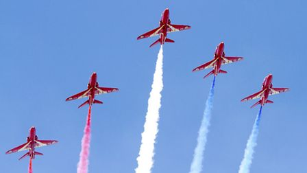 Red Arrows in the sky above Weston-super-Mare. (Getty Images)